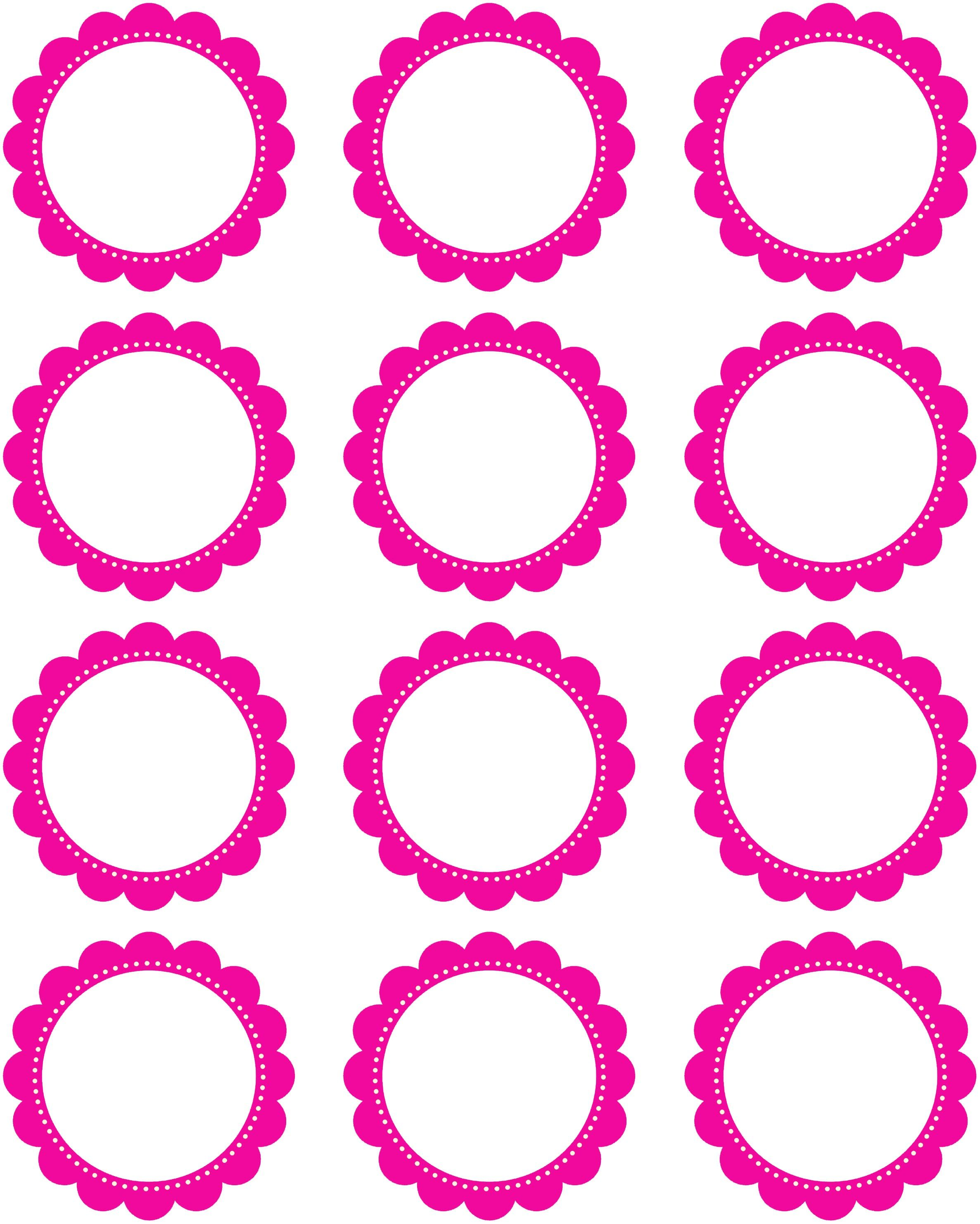 Free Printable  Inch Hot Pink Scallop Circles  My Etsy Shoppe