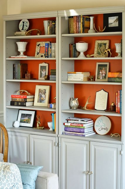 Charming Bookshelves With A Bold Background Color