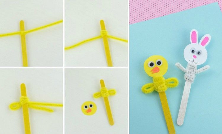 Puppen aus Eisstiele, Papier und Pfeifenreinigern basteln | Basteln ...