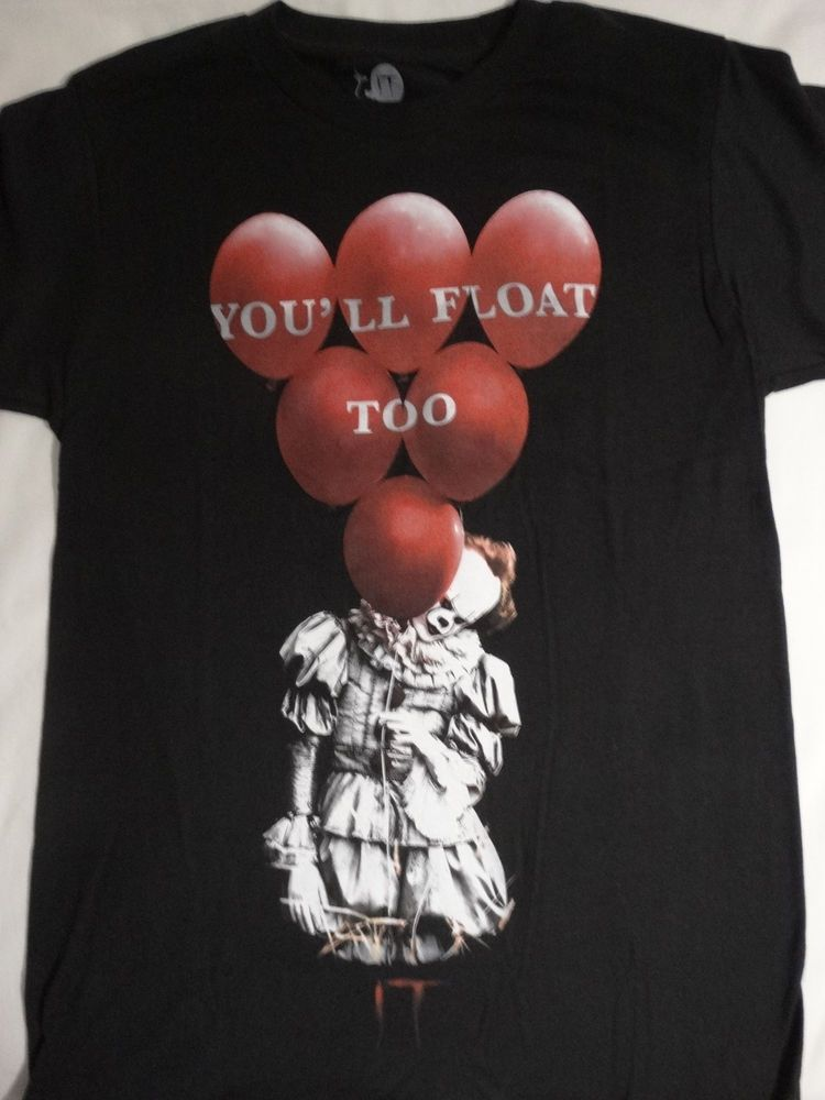 "IT Pennywise The Clown With Balloon /""You/'ll Float Too/"" Image Men/'s T-Shirt"