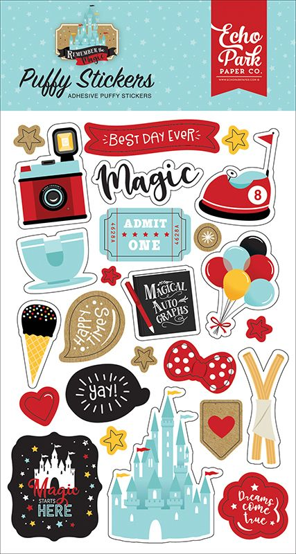 Add dimensional delight to your magical creations with the Remember The Magic Collection Puffy Stickers by Echo Park. The package includes puffy stickers in images of a bumper car, teacup ride, camera, a castle, churros, balloons, and so much more.