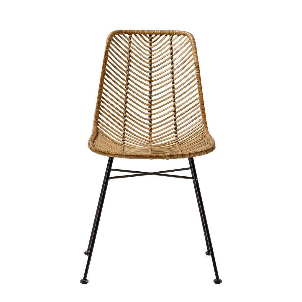 Natural Rattan Chair With Black Legs Seat Rattan Dining Chairs