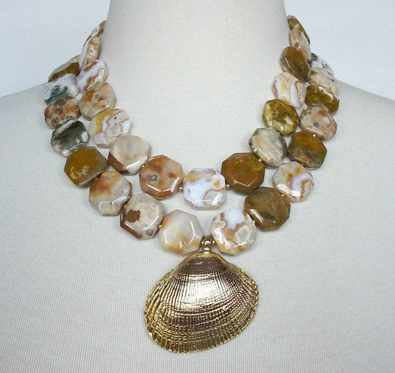 Earthtone Statement Necklace Large Gold Seashell by laiseoriginals, $135.00