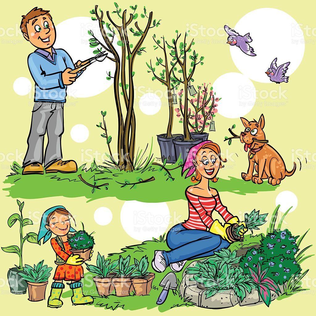 Gartenarbeit Caricatura De Familia Orden Y Aseo Caricaturas