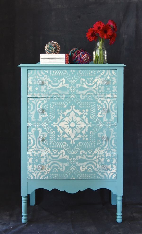 Tiffany Blue Mediterranean Painted And Stenciled Beauty Provence Old White Chalk Paint With Lisboa Tile Furniture Wall Stencil From Royal