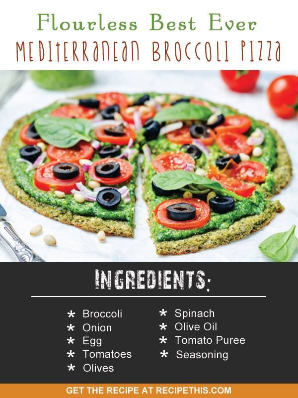 Soup Maker Recipes | flourless best ever Mediterranean broccoli pizza recipe from RecipeThis.com #soupMakerRecipes #soupMaker #flourlessMediterraneanBroccoliPizza