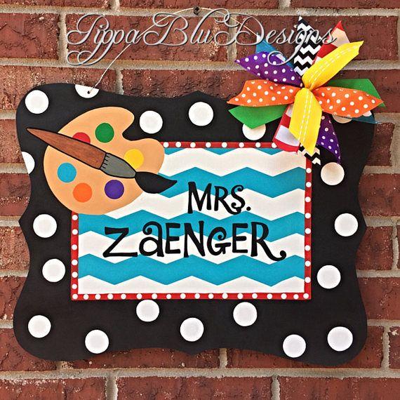 art teacher sign personalized art teacher door hanger door hangers