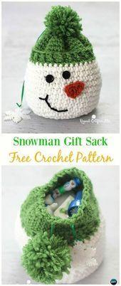 Photo of Snowman Gift Sack Bag Free Crochet Pattern -#Crochet Drawstring #Bags Free Patte…