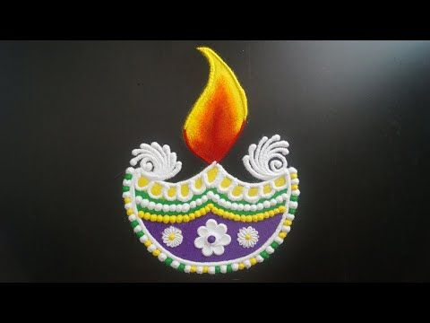 Easy And Beautiful Diya Rangoli || Diya Rangoli Designs || Diwali Special Rangoli || Diwali Rangoli