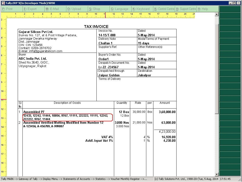 Image Result For Tally Erp 9 Service Invoice Format In Excel