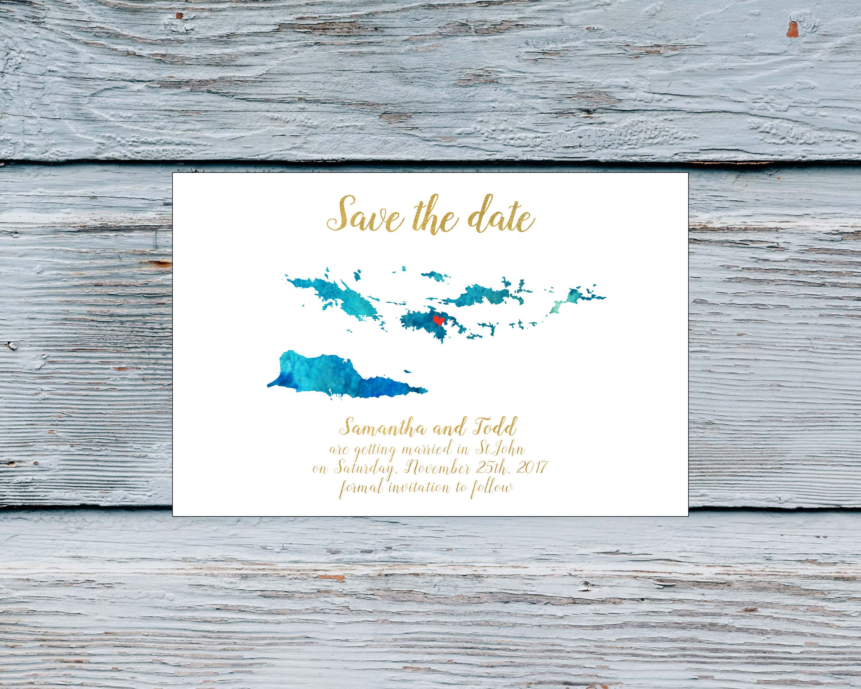 Save the date destination wedding card Virgin Islands travel theme ...