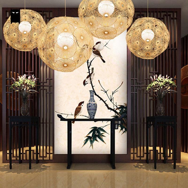 bambou en osier rotin ronde globe balle sph re flocon de neige pendentif luminaire rustique. Black Bedroom Furniture Sets. Home Design Ideas