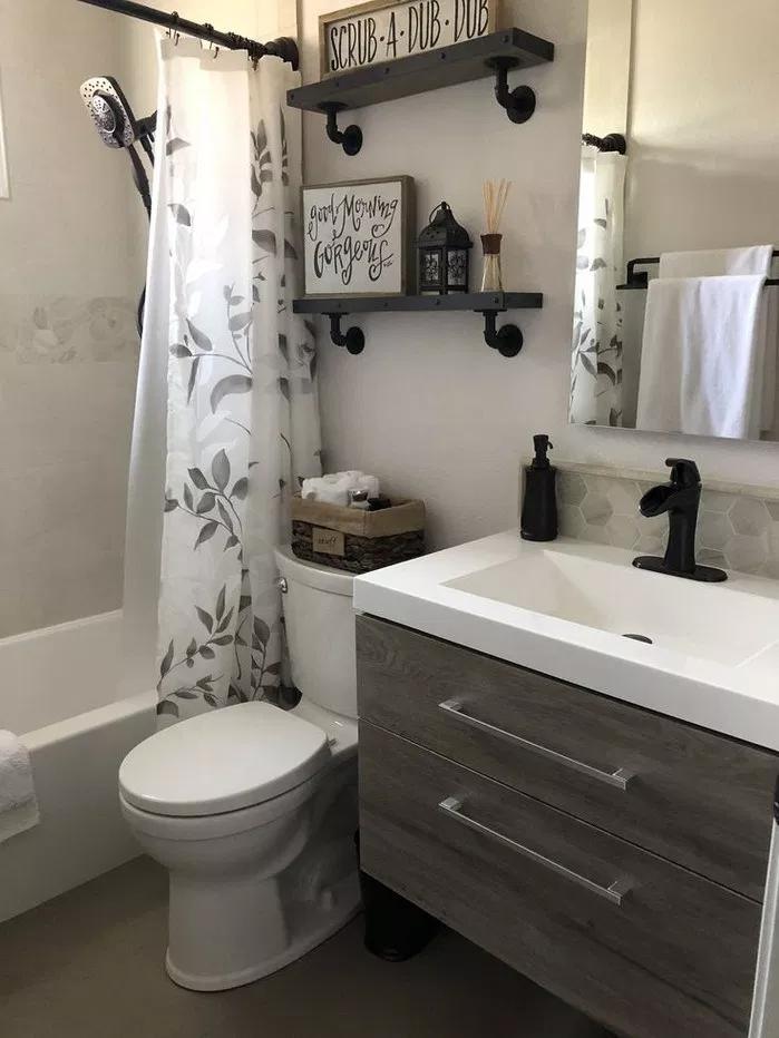 90 Gorgeous Modern Farmhouse Bathroom Decor Ideas Match With Any Home Design Guest Bathroom Small Small Bathroom Bathrooms Remodel