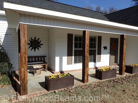 Porch Posts Covered With Faux Wood Beams House With Porch Porch Columns Porch Beams