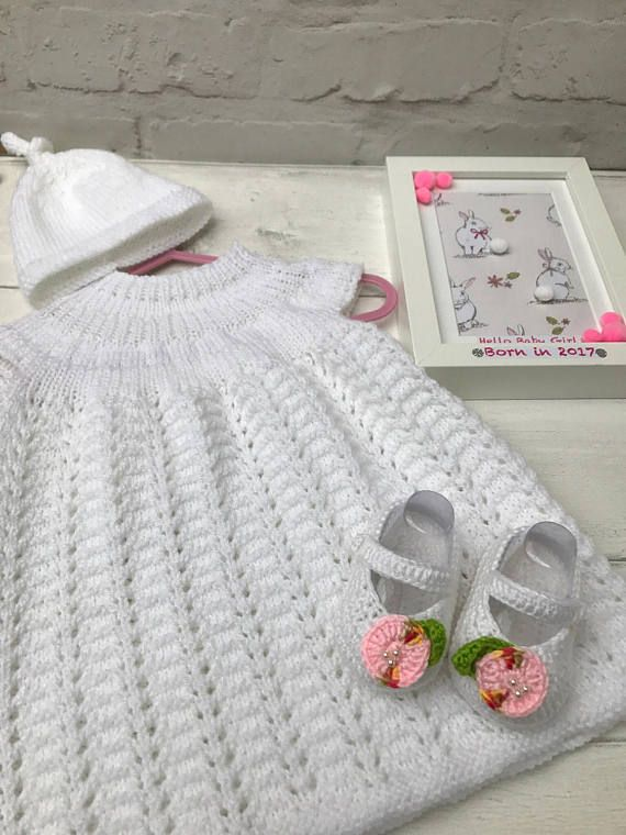 Hand knitted newborn baby set, baby dress , baby shoes, baby hat ...
