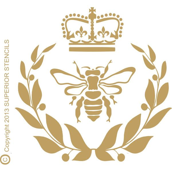 Royal Bee Stencil With Crown And Wreath 5 Sizes Available Create