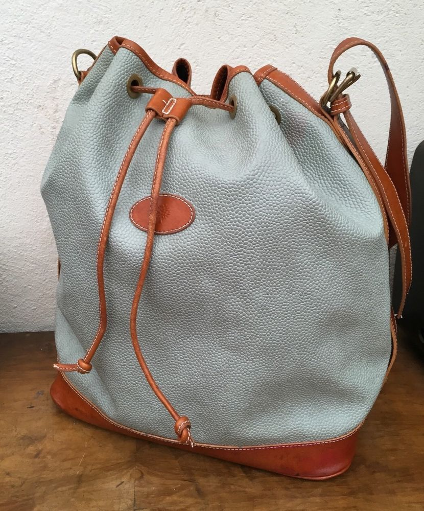 ebccbcb64e2f Authentic MULBERRY bucket DUCK EGG BLUE bag shoulder VINTAGE Leather DUSTBAG
