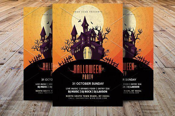 Vintage Halloween Party Flyer by Madhabi Studio on @creativemarket