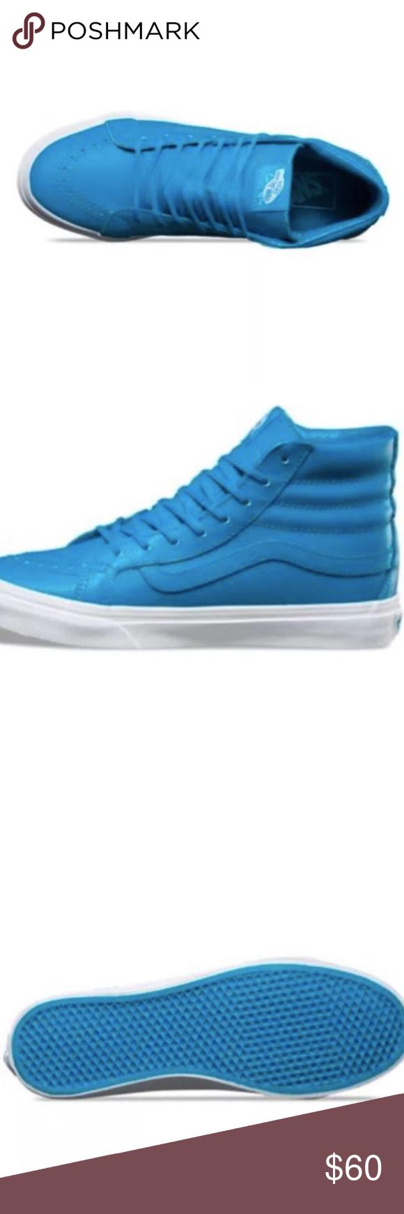 92ed4ee0b18926 Vans Sk8 Hi Slim Neon Leather Neon Blue