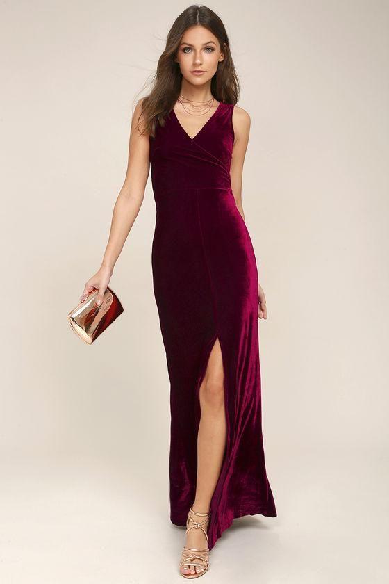 5036991c8e0 Lulus -  Lulus Crushin  It Burgundy Velvet Maxi Dress - AdoreWe.com ...