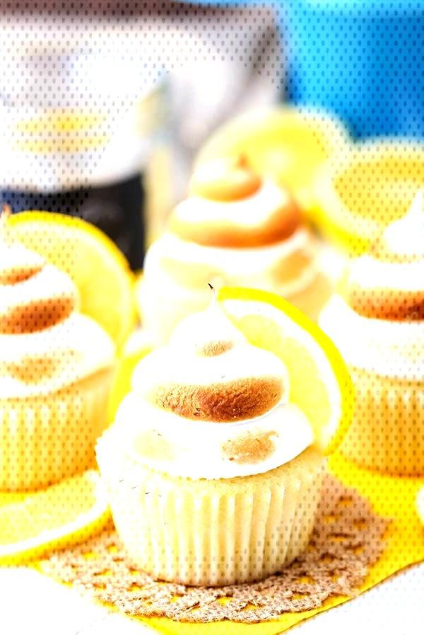 These Lemon Meringue Cupcakes are made with a light lemon cake, lemon curd filling and lightly toas