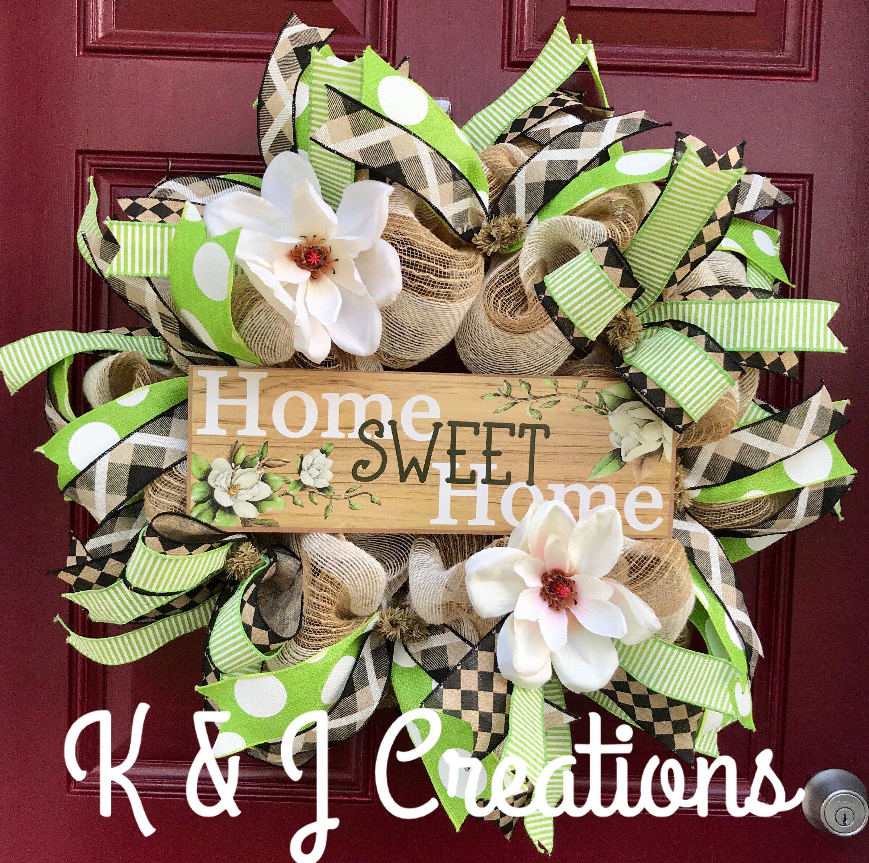 Photo of Magnolia Wreath for Front Door, Home Sweet Home Wreath, Everyday Wreath, Spring Decor, Farmhouse Wall Decor, Summer Wreath