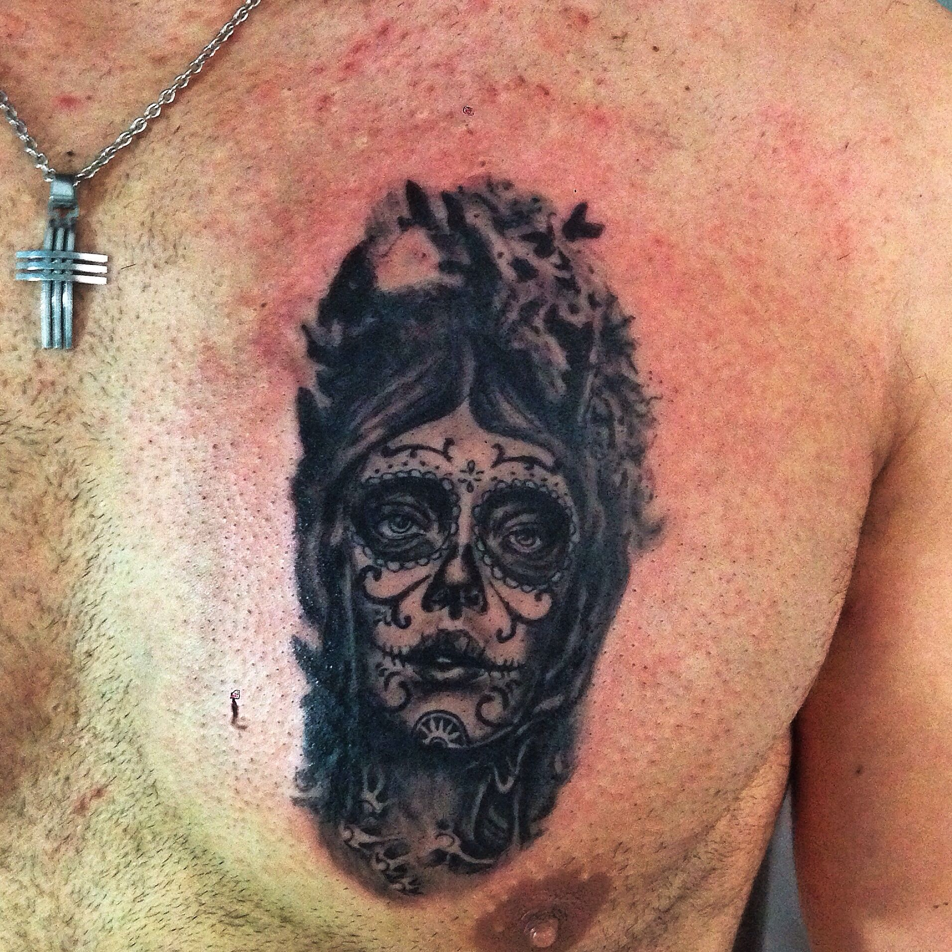 Chest Piece Tattoo Prices: Day Of The Dead Chest Piece Stared