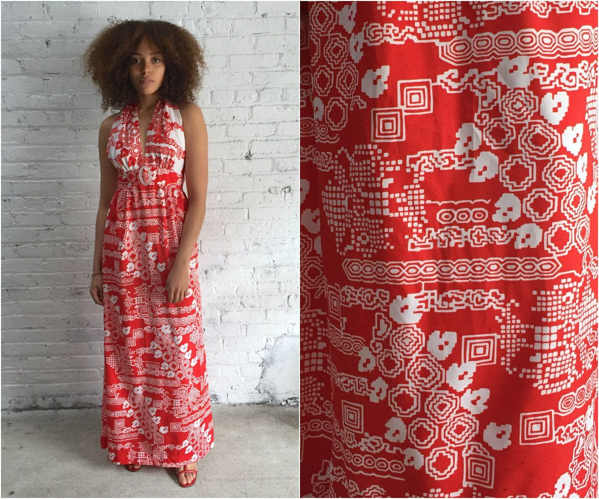 S halter dress red and white late s maxi dress deep v neck