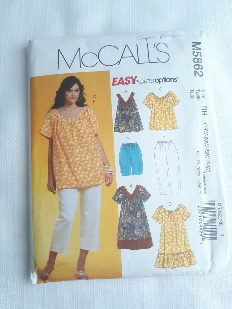 421a3d248c4a0 McCall's M5862 Muumuu Dress Peasant Top Pants Pattern Plus Size 18W -  20W-22-24W #McCalls