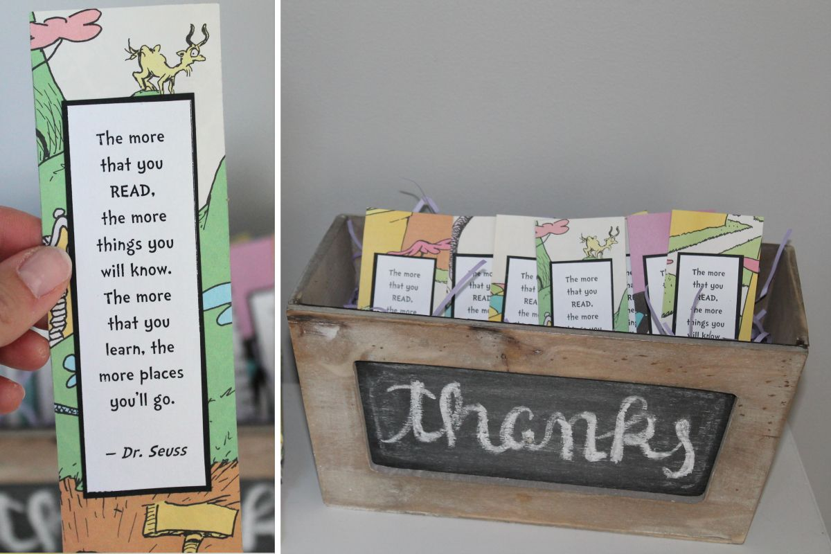 Dr. Seuss bookmarks make a perfect favor for a storybook party!