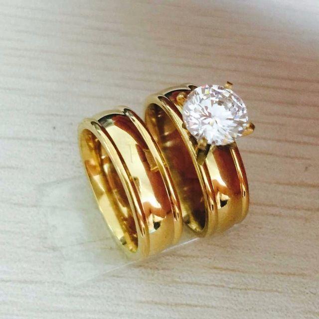 Gran Diamante De La Cz 18 K Gold Filled Real Love Couple Anillo De