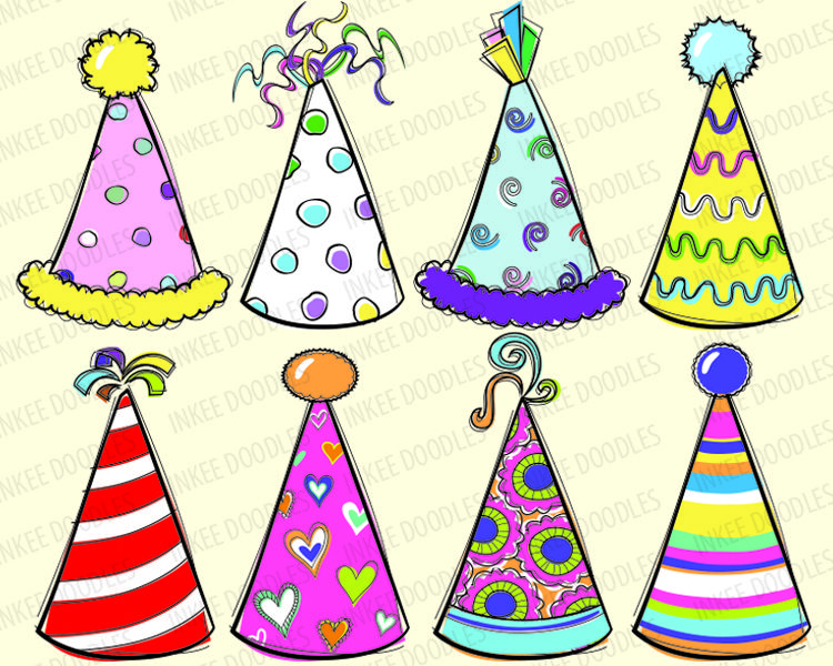 Doodles Party Hats Cute Kids Birthday Celebration Clip Art For Scrapbooking Educational Personal Commercial Use Instant Birthday Doodle Doodles Sewing Art
