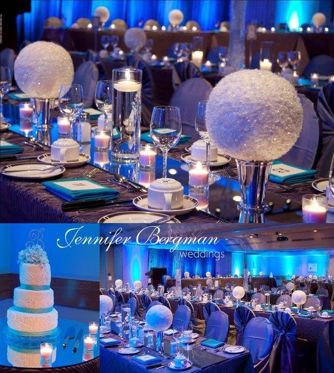 Turquoise and pewter winter wonderland wedding   table design ...