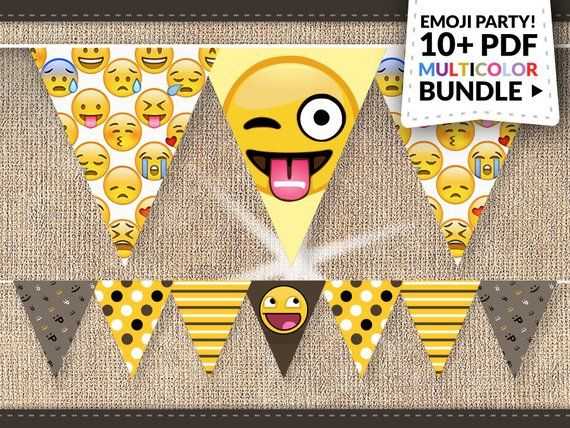 80 Off Sale Emoji Party Supplies Instant Download BIG Emoticon Smiley Banner Pack Labe