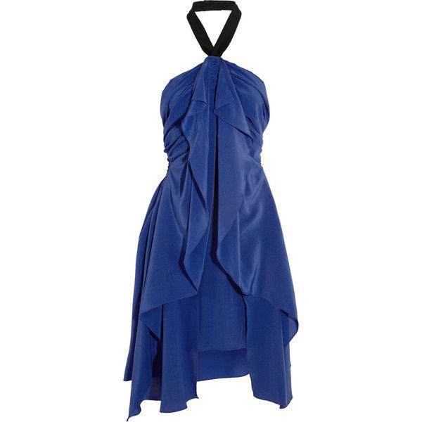 Vionnet Ruffled silk dress (2.275 BRL) ❤ liked on Polyvore featuring dresses, blue, short halter dress, silk cocktail dress, short dresses, blue dress and blue halter dress