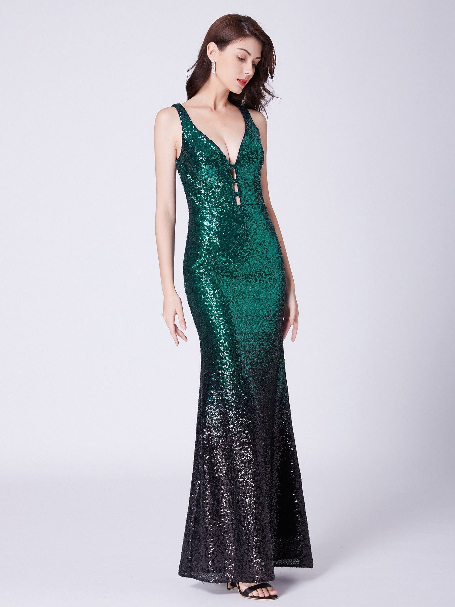 9a4899bd Long Ombre Sequin Dress with Deep V Neck | Ever-Pretty #eveningdress  #EverPretty #sequindress #vneckdress #longdress #ombredress #sparklingdress