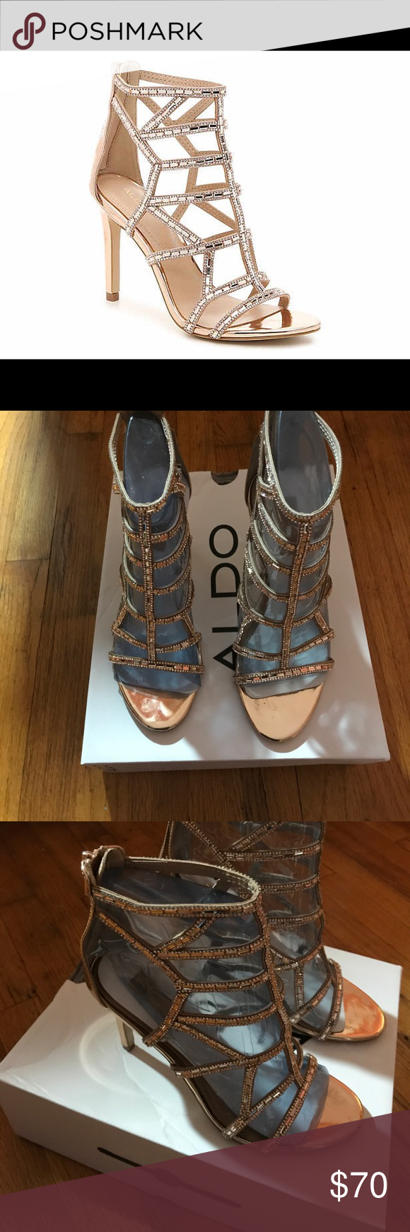 47ca0ae4ad64 Aldo Rose Gold Fidenza Sandal Gorgeous Rose Gold Heels for that perfect  night out