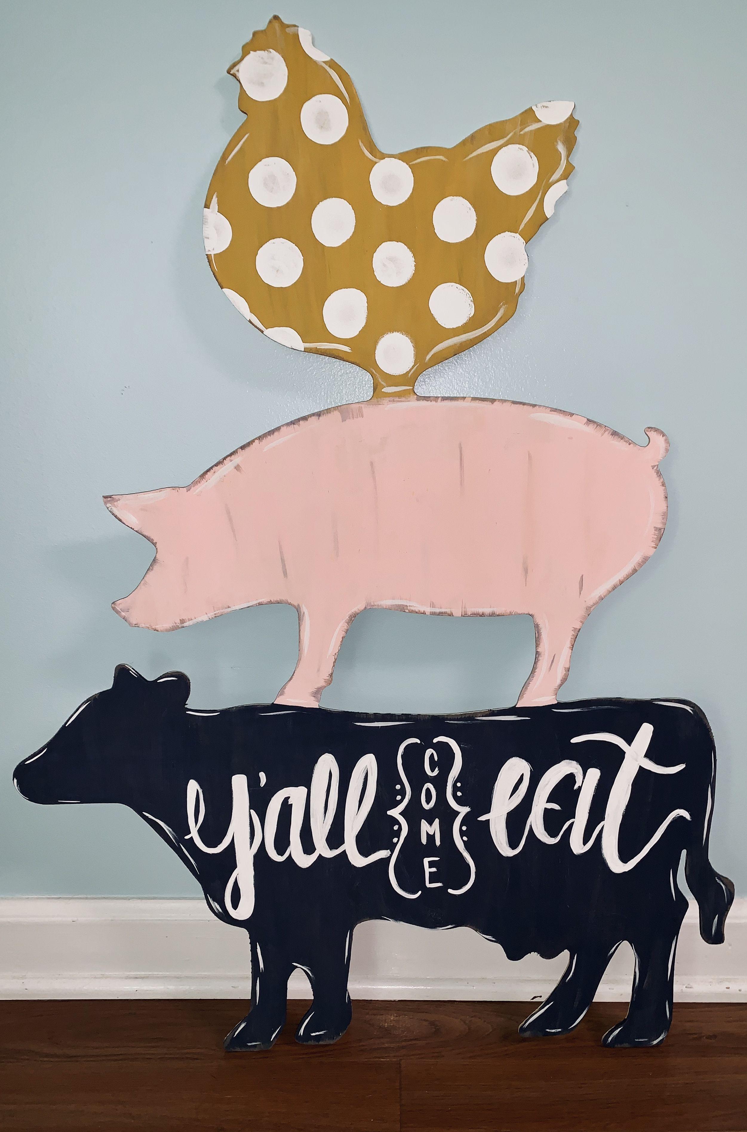 Farm Trio (Cow Pig Chicken) Door Hanger  Farm animal decor