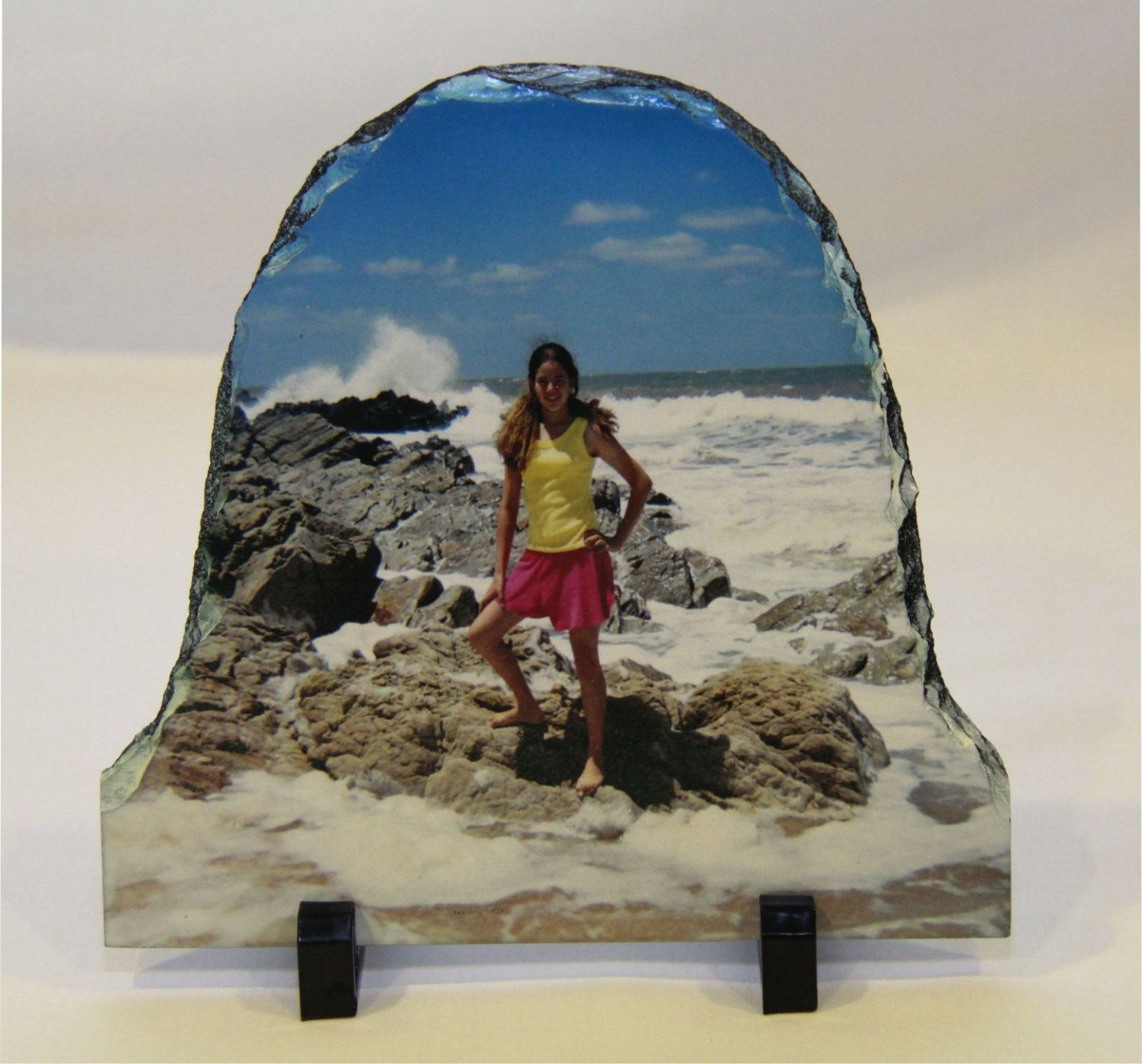 Personalised Custom Photo Printed Rock Slate Display Gift with Stands Great Gift
