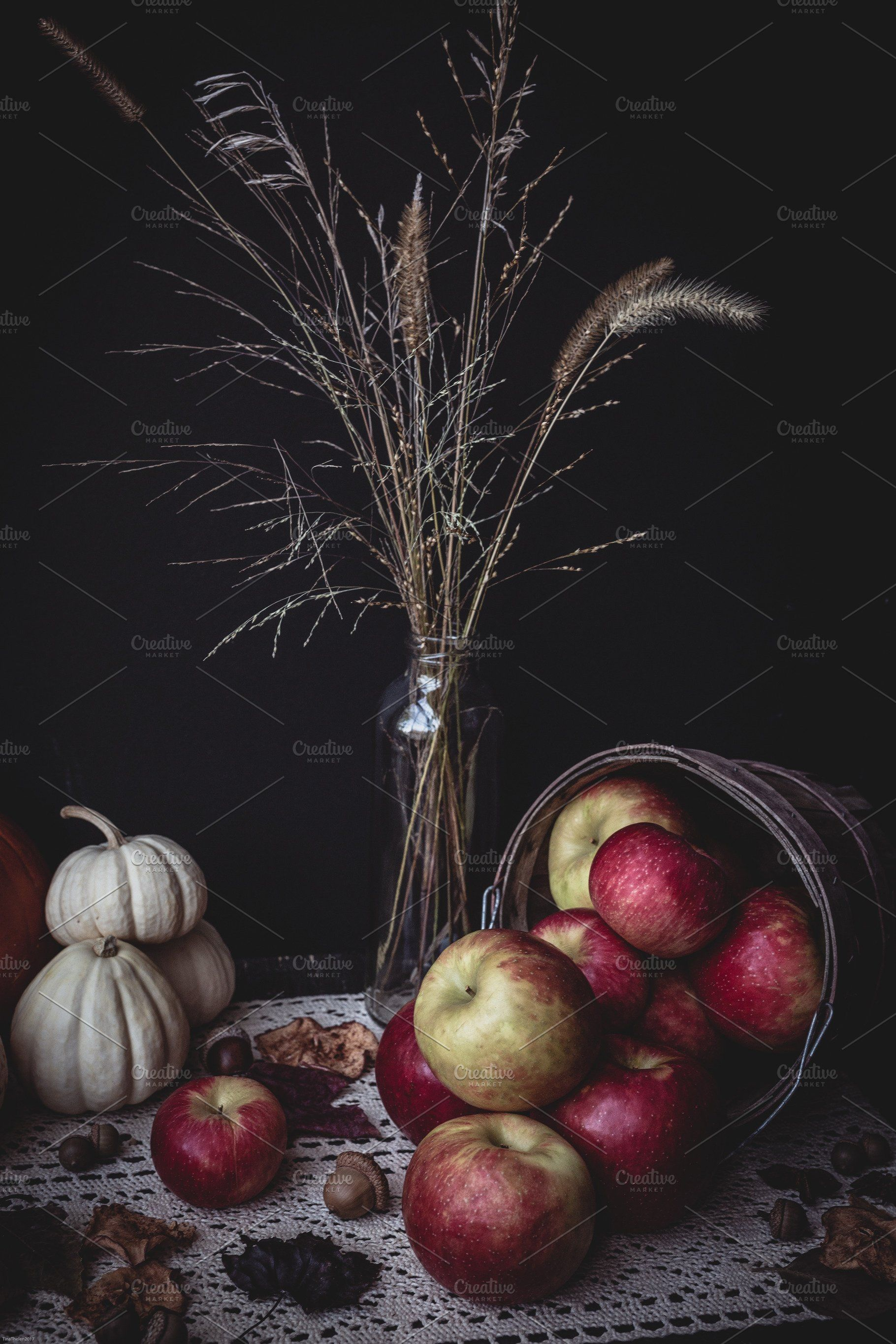 Ad: Hello Autumn  by Tina Thelen Photography on @creativemarket. portrait version of the basket of apples and assorted small pumpkins sitting in dark corner with assorted fall accents #creativemarket #helloautumn