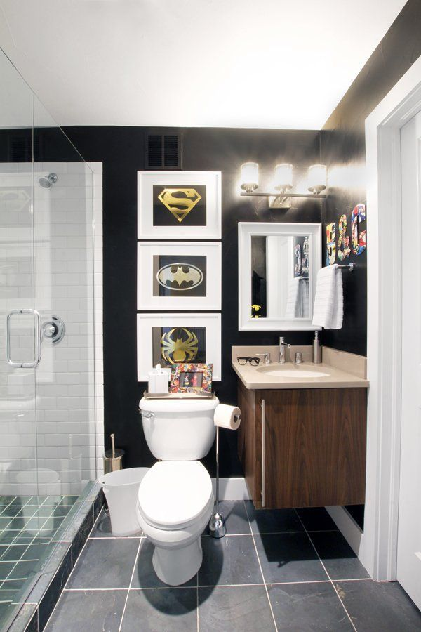 A Sophisticated Superhero Bathroom Makeover Superhero Bathroom Bathroom Makeover Bathroom Decor Accessories