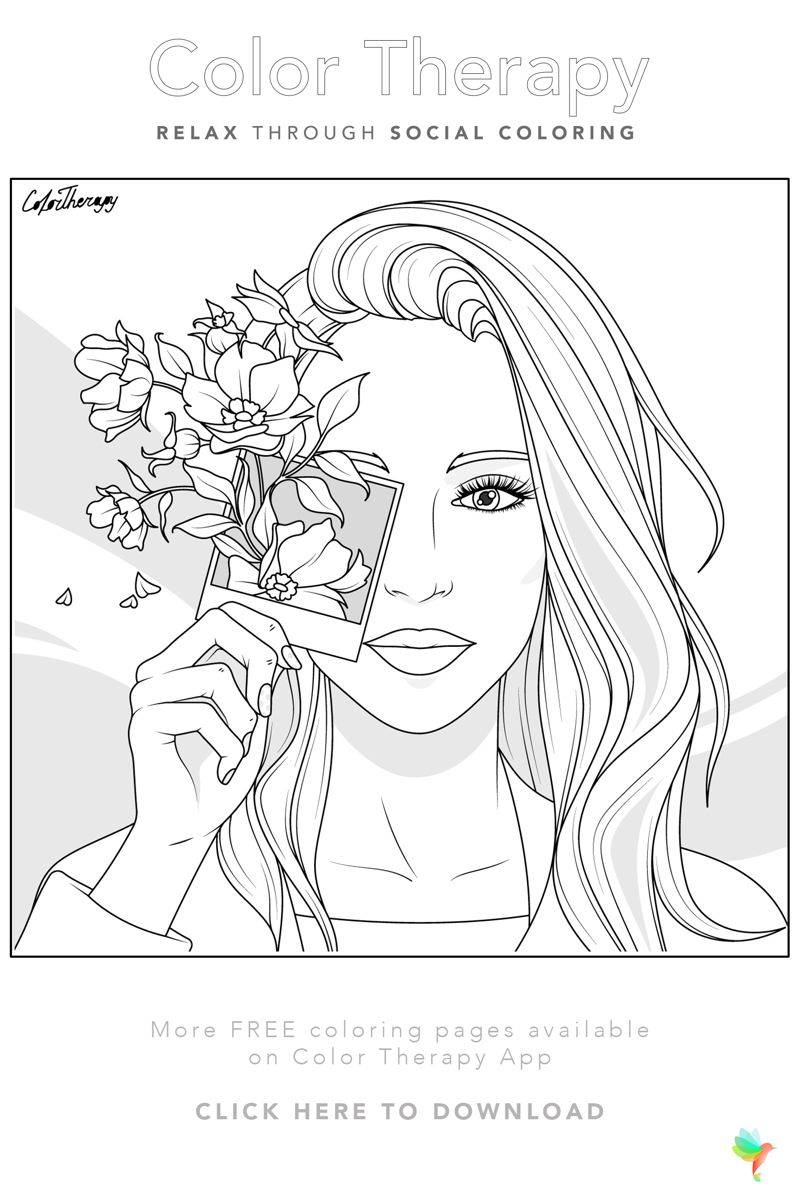 Color Therapy Gift Of The Day Free Coloring Template People Coloring Pages Coloring Books Color Therapy
