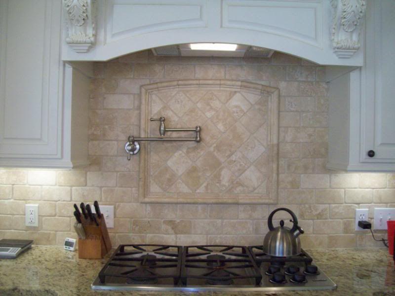 Giallo Ornamental Granite Backsplash Ideas Part - 47: Giallo Ornamental Granite With Tumbled Marble Chiaro By PGM Products  Backsplash