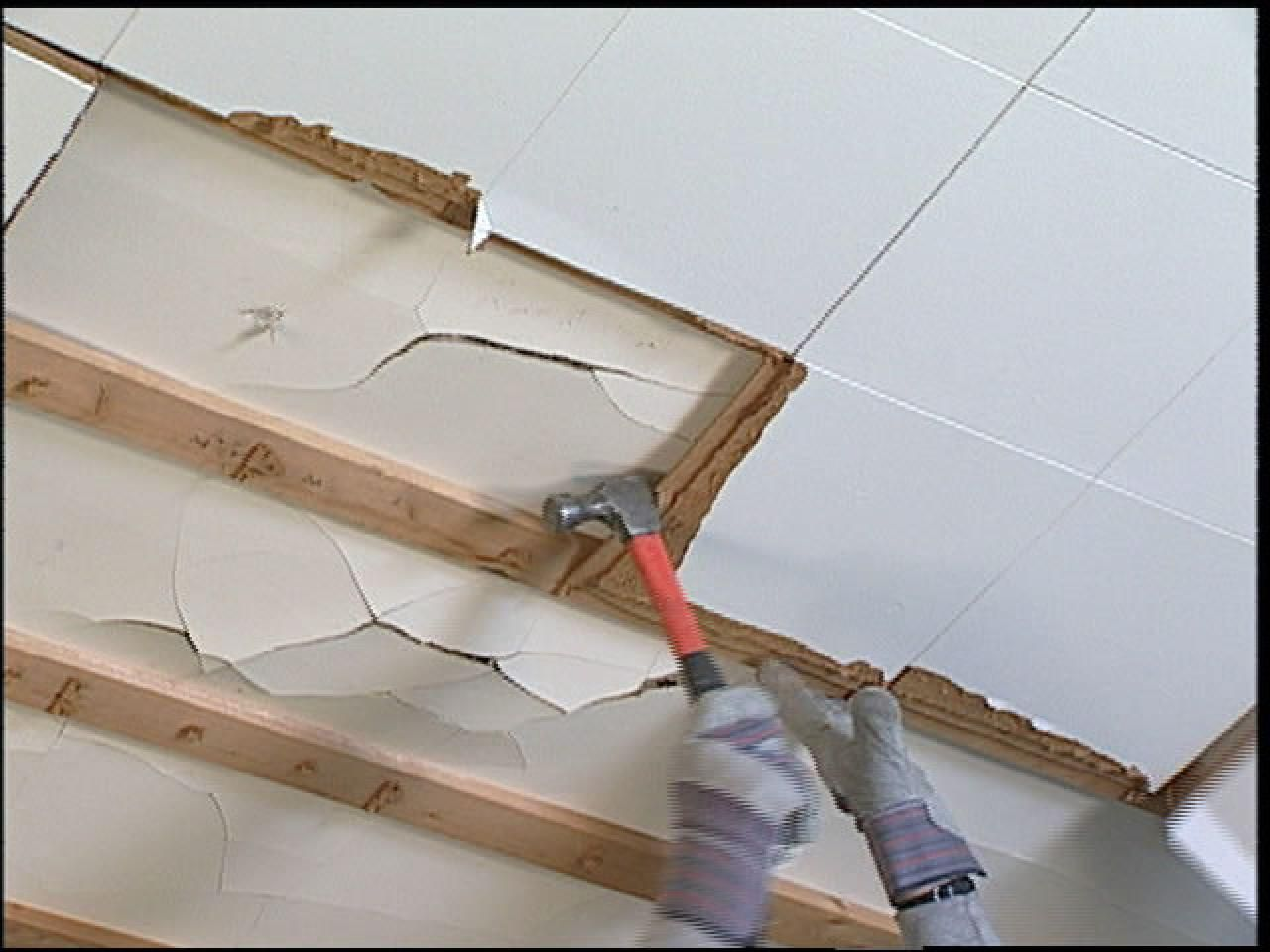 How to install stacked stone tile on drywall ceiling