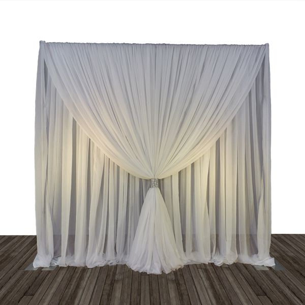 10ft wide x 12ft long Sheer Voile Curtain Panel w/ 4 Pockets ...