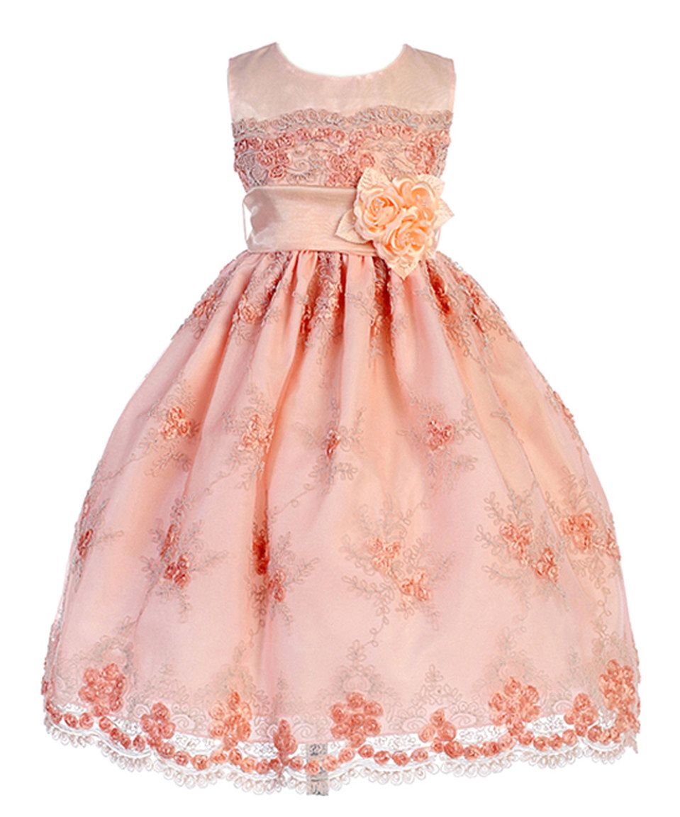 This Crayon Kids Peach Floral Lace ALine Dress  Toddler u Girls by