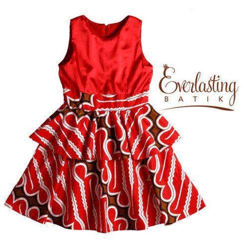 Red Dress Batik Dress Gaun Bayi Gaun Bayi Perempuan Dan