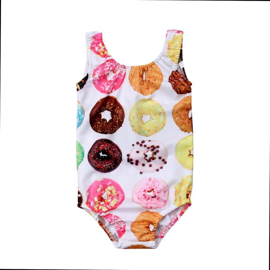 Doughnut Print Lovely Sunsuit Swimsuit Girls One Piece Swimsuit Baby Girl Swimwear Swimwear Girls