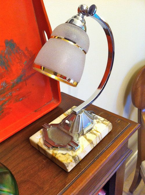 Antiques Atlas - Art Deco Desk Lamp Chrome On Marble Material: chrome Condition: Good. small nibbles on two corners of marble base. Origin: French Circa 1930