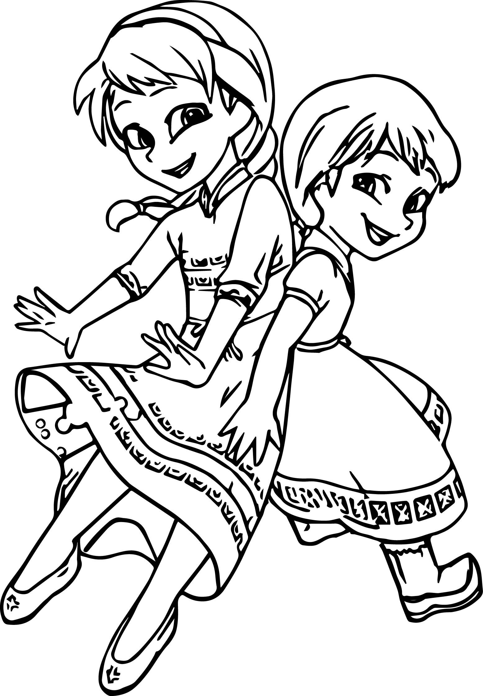 Young Elsa And Anna Printable Coloring Page Elsa Coloring Pages Elsa Coloring Cartoon Coloring Pages